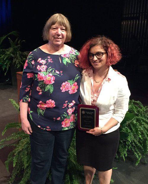 2019 Ann Palmenberg Junior Investigator Award winner, Marta Gaglia with Ann Palmenberg.